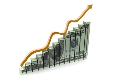 positivist: Dollar with  graph  showing  profit