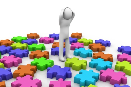 3d character and puzzles Stock Photo