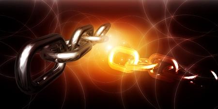 cadenas: representaci�n 3D de cadena en fondo abstracto  Foto de archivo