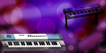 orchestrate:  3d rendering of Piano in abstract background