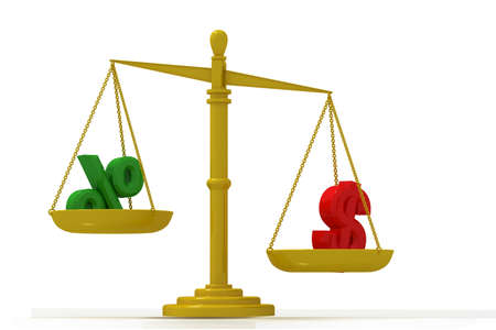 Digital illustration of balancing scale  percentage and dollar in color background illustration