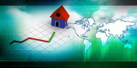 economic depression: Housing market graph   Stock Photo