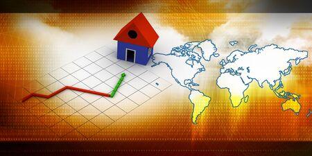 Housing market graph Stock Photo - 9771719