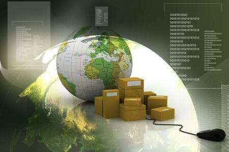 parcels: packages with mouse in abstract  background