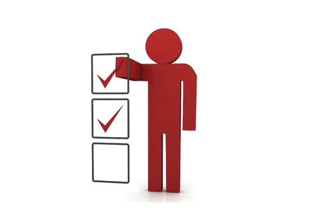 differential: Stick Figure with Checklist Stock Photo