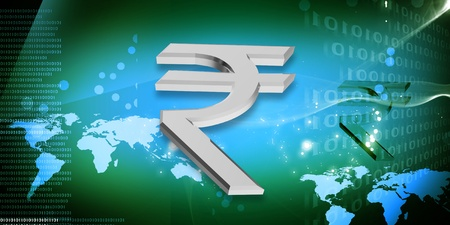 Indian rupee sign in color abstract background  photo