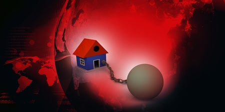 House tied to ball and chain of real estate Stock Photo - 9776095