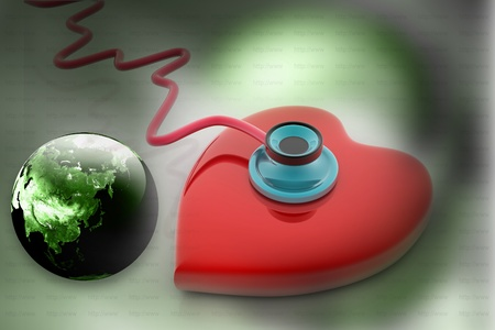 Heart and stethoscope in abstract background  Stock Photo - 9776142