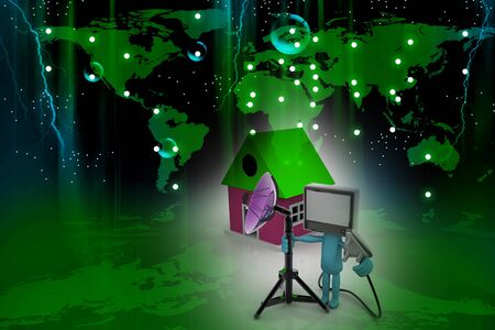 Home TV concept in abstract background   photo