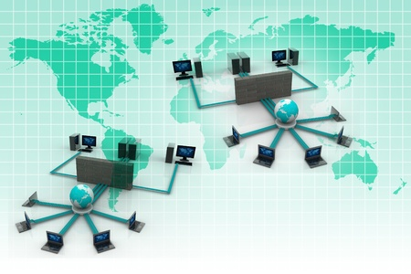 group solution: Computer Network in abstract background