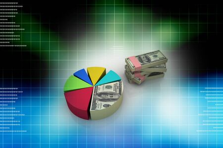Currency and Pie Chart in abstract background Stock Photo - 9776171