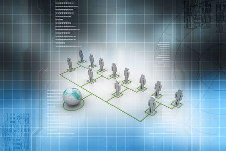 Organization Chart in abstract background  Foto de archivo