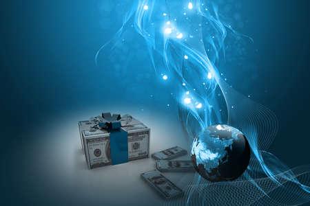 抽象的な背景でお金のギフト