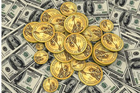 one us dollar coin: American Money  Stock Photo