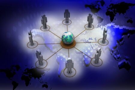 organised: People Network Global in abstract background Stock Photo