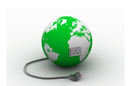 Earth with power socket and plugEarth with power socket and plug Stock Photo - 9776363