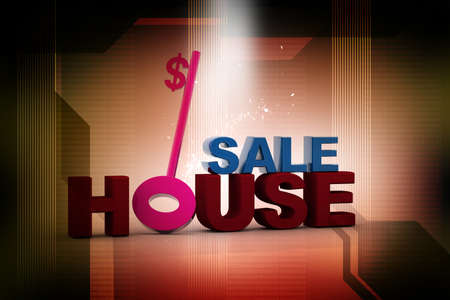 Digital illustration of house sale in abstract background  illustration