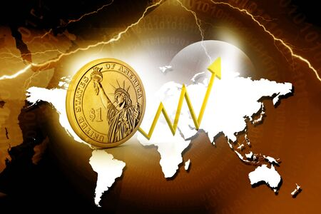 positivist: Dollar coin with  arrow showing  profits