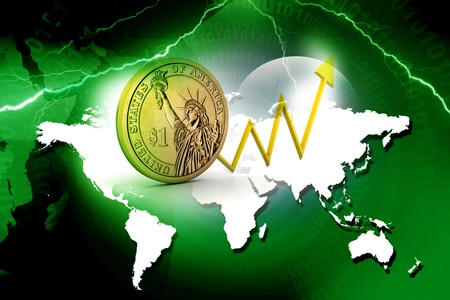 Dollar coin with  arrow showing  profits photo