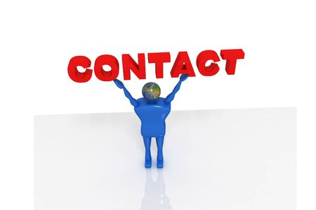 Man holding contact in isolated background   photo