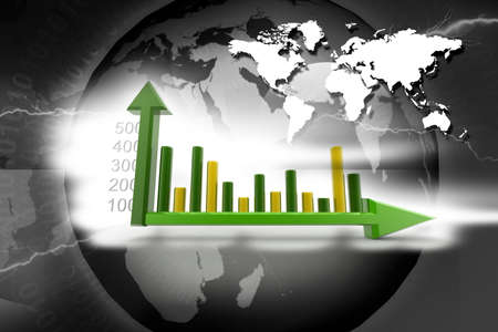 3d rendering of growth and graph in abstract  background  photo
