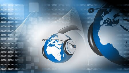 telecom: A headset on world globe in abstract background  Stock Photo