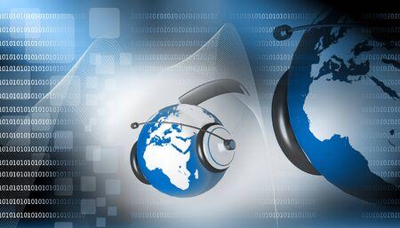communication occupation: Un auricolare sul globo mondo astratto sfondo