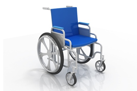Digital illustration of Wheelchair in isolated  background Foto de archivo
