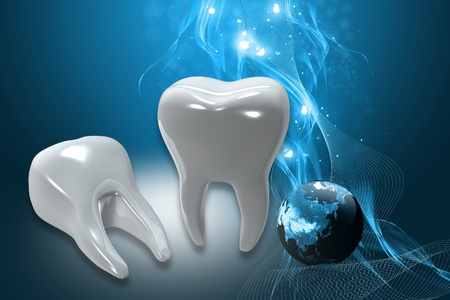 Digital illustration of teeth in color background  Stock Photo