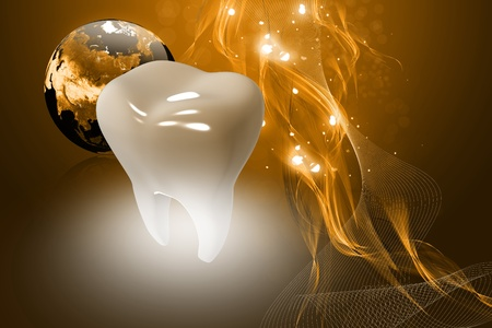 caries dental: Ilustraci�n digital de dientes en el fondo de color