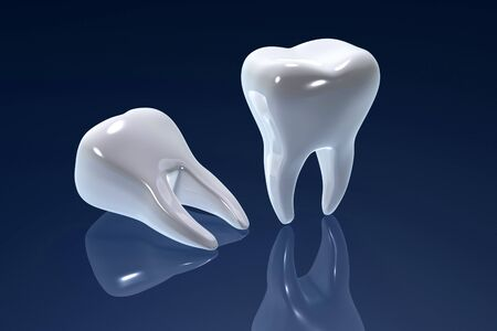 Digital illustration of teeth in color background  Foto de archivo