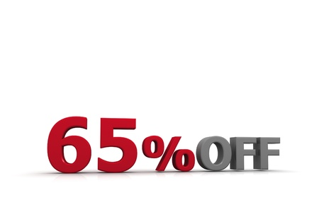 sixty: Sixty five  Percent Off Stock Photo