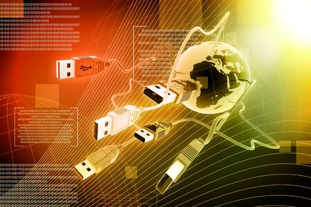 tuned: USB  cable connecting the world in abstract background  Stock Photo
