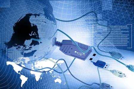 抽象的な背景で世界を接続する USB ケーブル