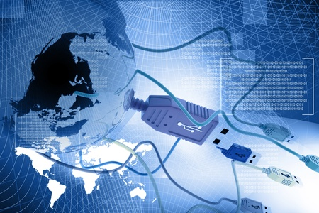 USB  cable connecting the world in abstract background  Stock Photo