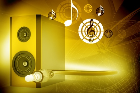 Colourful speaker and cable in abstract background  photo