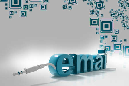 3d rendering of electrical chord with email letters Stock Photo - 9992136