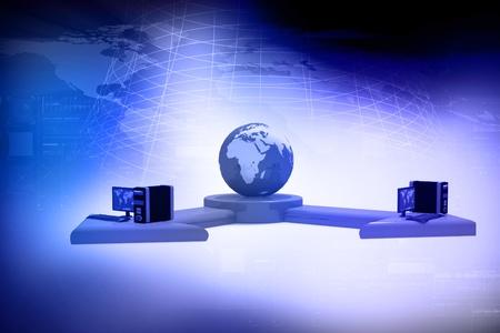 抽象的な背景でグローバル コンピュータ ネットワーク