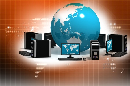 Global Computer Network in abstract background