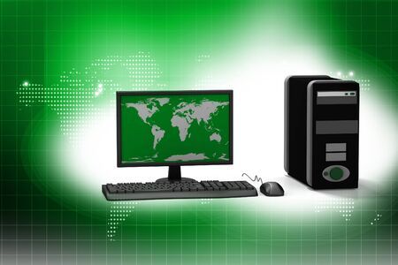Digital illustration of computer in abstract background   illustration