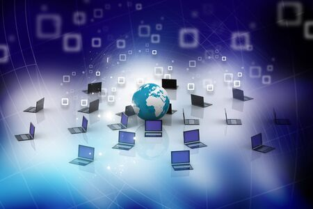 co operation: Computer Network in abstract background  Stock Photo