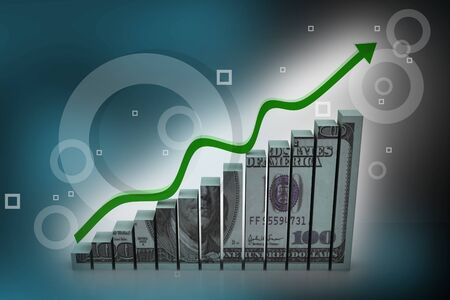 positivist: Dollar with  graph  showing  profit  in abstract background