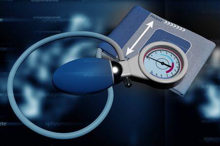 sphygmomanometer: Sphygmomanometer in abstract background Stock Photo