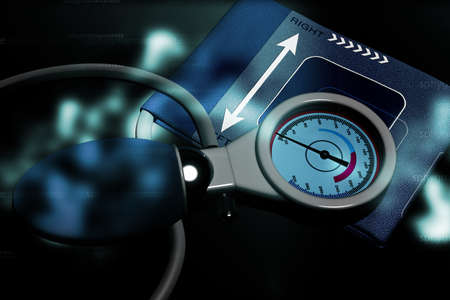 sphygmomanometer: Sphygmomanometer in abstract background Stock Photo