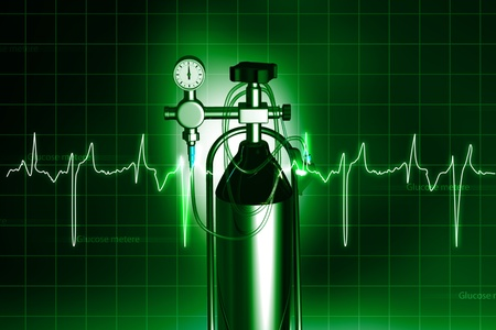 medical technology: oxygen cylinder in abstract  background