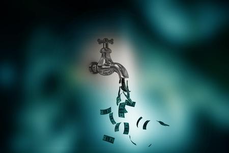 Money Tap in abstract background  Foto de archivo