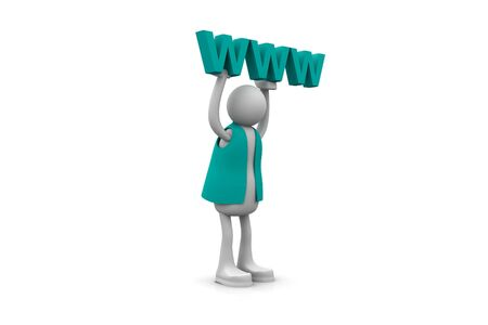 hyperlink: Man and www  Stock Photo