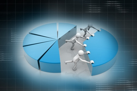 co operation: pie chart for teamwork concept in abstract background  Stock Photo