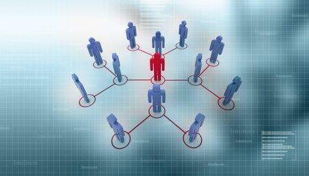 Organization Chart in abstract background
