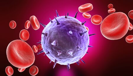 infective: blood cells with virus  Stock Photo